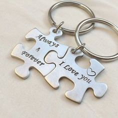 Jigsaw puzzle piece keychain, Silver bridal Gift ideas, I love you Always & Forever, puzzle piece key ring Personalized boyfriend Girlfriend Cute Gifts For Girlfriend, Gifts For Your Boyfriend, Gifts For Mom, Boyfriend Ideas, Men Gifts, Boyfriend Girlfriend, Simple Gifts, Easy Gifts, Unique Gifts