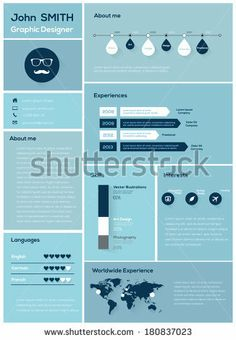 Flat Resume with Infographics and Timeline. Vector Illustration  by Antun Hirsman, via Shutterstock