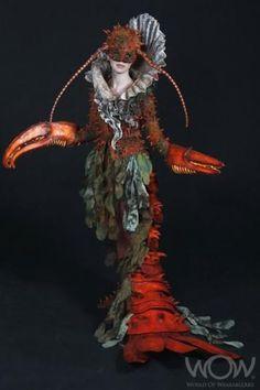 Crab; crustacean claws; red; long dress; World of Wearable Art, Weta Award winner 2011.