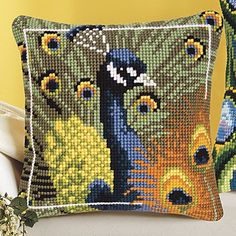 Both Peacock Pillow Tops - Cross Stitch, Needlepoint, Embroidery Kits – Tools and Supplies