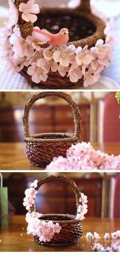 Adorable Pink Easter Basket | DIY Spring Decorations for the Home