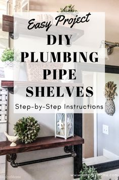 This simple project adds a touch of industrial flair and modern farmhouse style to your home. Pipe Furniture, Furniture Projects, Easy Projects, Home Projects, Project Ideas, Plumbing Pipe Shelves, Vintage Industrial Furniture, Industrial Lamps, Photo Wall Decor