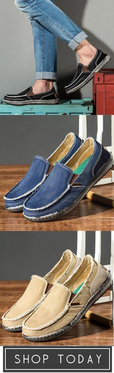 6c5e7f1b3e3 Men Soft Comfortable Slip-on Boat Shoes Canvas Flats Boat Shoes