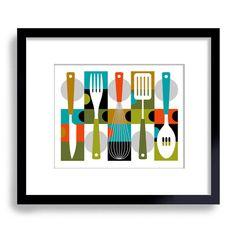 Mid Century Modern Kitchen Decor Kitchen Art Cooking Art