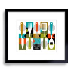 Mid Century Modern Kitchen Decor Kitchen Art Cooking Art by DexMex, $18.00