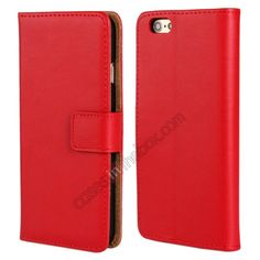 Genuine Leather Wallet Flip Case Cover For iPhone 6 Plus 5.5inch - Red US$13.69