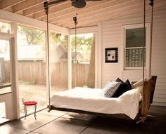 hanging bed....love it!  Where could I put one in the back yard garden hear to the pool!