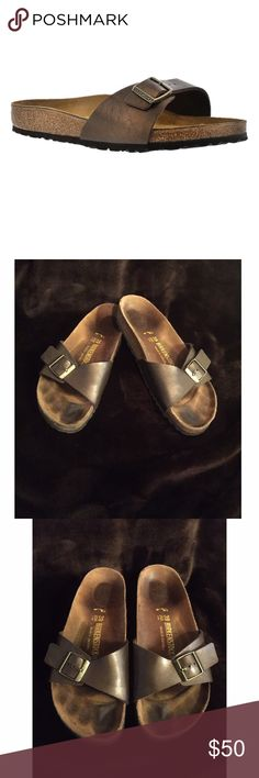 Birkenstock Madrid Sandal Slide Ons The utmost in functionality. The strap on the MADRID sandal is well-designed for people who like to stretch and grip with their toes. This style offers rest and relaxation for your feet, especially after an exhausting day. Birkenstock Shoes Sandals