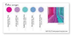 Raspberry Fizz, Plum Pudding, Hawaiian Shores, Blueberry Sky, Winter Wisteria (Color-Recipe-4, SAF 2013)