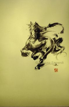Horse Japanese ink painting rice paper stamped by Asianature, zł400.00