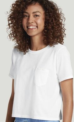 Jockey Signature Modern Mix Cropped Heather Tee, white, S Oversized White T Shirt, White Tees, White Tshirt Outfit, Intimate Photos, Retro Look, Color Trends, Clothing Patterns, Casual Outfits, T Shirts For Women