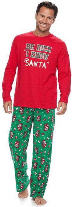 Men's Jammies For Your Families Be Nice I Know Santa Top & Santa Microfleece Bottoms Pajama Set Happy Christmas Day, Family Christmas Pajamas, People Around The World, Pajama Set, Santa, Nice, Celebrities, Families, Sleep