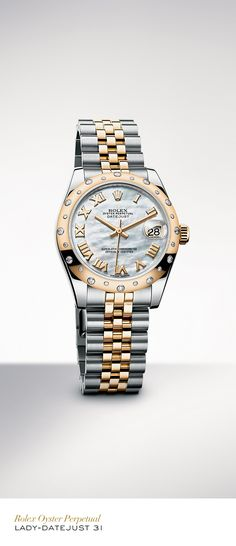 The Rolex Datejust Lady 31, in yellow gold Rolesor with a domed set with diamonds bezel, white mother-of-pearl dial and Jubilee bracelet. #Festive #RolexOfficial