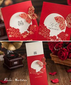 Wedding Invitation with red butterfly,Traditional Chinese style,Wedding Invites,Wedding Invitations