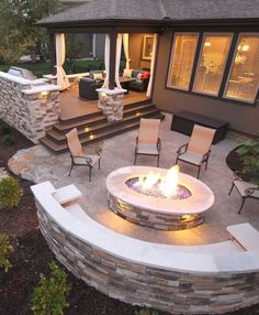 Features Include: – composite deck – stone grilling station – stamped concrete patio – curved stone bench – gas fire pit w . - CLICK PIN for Various Patio Ideas, Patio Furniture and other Perfect Patio Inspiration. Backyard Seating, Backyard Patio Designs, Fire Pit Backyard, Deck Patio, Cozy Backyard, Patio Ideas For Sloped Yard, Small Patio, Fire Pit With Seating, Patio Ideas With Fire Pit