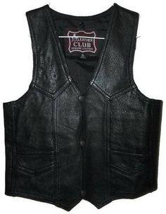 LEATHER CLUB LC Genuine Black Leather Child's Size XL Vest Motorcycle Vest