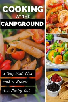 Campground cooking doesn't have to be just burgers and hot dogs. This campground cookbook includes a 3-day meal plan with 3 recipes each for breakfast, lunch, dinner, and dessert. You'll also get a pantry & shopping list and tips for small kitchen cooking. Whether you camp in a tent, RV, motorhome, fifth wheel, or travel trailer, the cooking at the campground cookbook will provide ideas for healthy and delicious meals. Healthy Camping Snacks, Camping Meals For Kids, Kids Meals, Rv Camping, Snacks To Make, Food To Make, Camping Food Checklist, Delicious Meals, Yummy Food