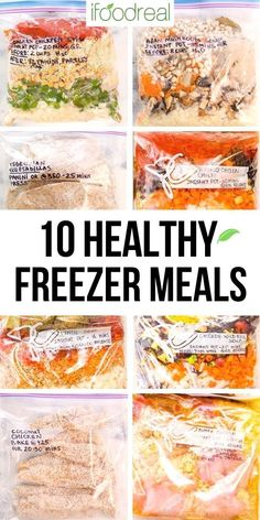 Meal prep 5 or 10 Healthy Freezer Meals in just 2 hours with a shopping list and how-to video. No pre-cooking required and then just cook your delicious frozen meal in your Instant Pot or slow cooker. Healthy Freezer Meals, Dump Meals, Healthy Family Meals, Healthy Breakfast Recipes, Healthy Eating, Delicious Crockpot Recipes, Best Dinner Recipes, Pressure Cooker Recipes, Slow Cooker