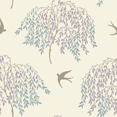 Willow Song Duck Egg and Heather wallpaper by Arthouse