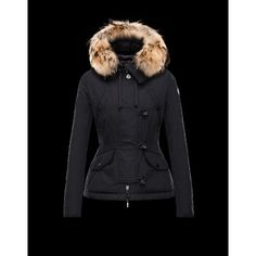 Moncler AYROLLE Detachable Fur Collar Turtleneck Nero Piumini Polyester/Cotton/Racoon Donna 41456955NI - Nuovi Moncler Piumini Donna Outlet