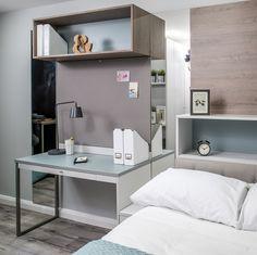 The concept student accommodation was designed by Links Project, using both EGGER Laminate and Eurodekor MFC throughout. U636 ST9 Fjord Green (https://www.egger.com/shop/en_GB//Decors-Furniture-interior-design/U636-ST9/p/U636_9), H1399 ST10 Truffle Brown Denver Oak (https://www.egger.com/shop/en_GB//Decors-Furniture-interior-design/H1399-ST10/p/H1399_10) and U708 ST9 Light Grey (https://www.egger.com/shop/en_GB//Decors-Furniture-interior-design/U636-ST9/p/U636_9) were used.