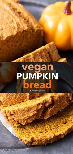 Easy Vegan Pumpkin Bread: this vegan pumpkin bread recipe is moist, deliciously dense & lightly fluffy, with rich pumpkin flavor. The best vegan pumpkin bread! #Vegan #Pumpkin #Bread #Easy   Recipe at BeamingBaker.com Gluten Free Quick Bread, Vegan Gluten Free Desserts, Healthy Dessert Recipes, Vegan Pumpkin Bread, Gluten Free Pumpkin, Pumpkin Recipes, Pumpkin Coffee Cakes, Baker Recipes, Winter Food