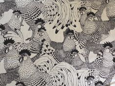 Black & White Chicken fabric available from dwfabric.co.uk £13.99 per metre (free UK delivery)