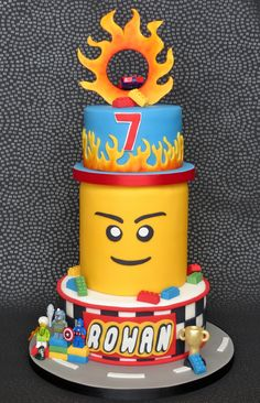 Lego Hot Wheels Birthday Cake with Lego Head and Flames, pambakescakes pam bakes cakes