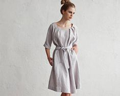 Washed and soft linen dress with sleeves. 15 colours. Linen womens clothes.