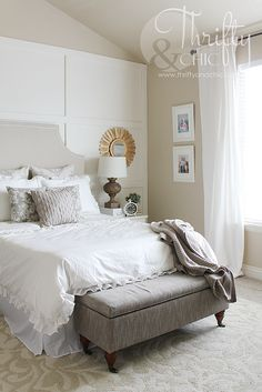 Thrifty and Chic house tour; farmhouse style living room decor; farmhouse style bedroom; cottage decor