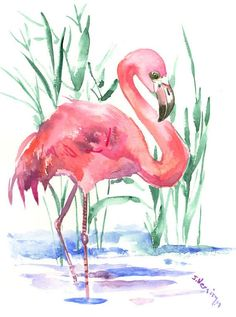 Flamingo Art, Painting, Original watercolor 12 X 9 in, pink flamingo lover, flamingo painting Watercolor Wallpaper, Watercolor And Ink, Watercolor Paintings, Original Paintings, Flamingo Painting, Flamingo Art, Pink Flamingos, Lighthouse Pictures, Small Canvas Art