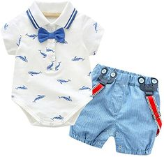 0c30ce3968f766 Amazon.com  Fineser 2PCS Summer Baby Boys Gentleman Bowtie Romper  Jumpsuit+Overall Shorts