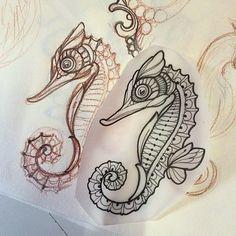 Miss Juliet Tattoos — Seahorse Ocean Tattoos, Mermaid Tattoos, Body Art Tattoos, Sleeve Tattoos, Small Tattoos, Tatoos, Nautical Tattoos, Ship Tattoos, Arrow Tattoos