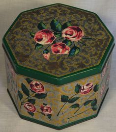 "SUPER RARE HUNTLEYPALMERS VINTAGE BISCUIT TIN ""ROSALIE"" C1965 shabby chic"