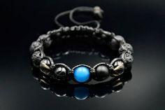 Men's Lava Stone Bracelet Shamballa Bracelet Beaded