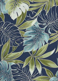 20'Omalu Tropical fabricleafy botanical design, including Palm leaf, monstera, and plumeria all over design.