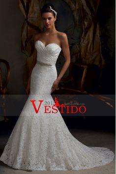 2014 Delgado cariño blusa con volantes sirena / trompeta vestido de novia de encaje con el marco moldeado