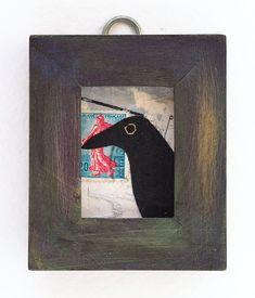 Mixed media collage, raven art, small original collage in repurposed frame #mixedmedia #raven #collage #aceo