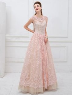 A-Line/Princess Short Sleeves Bateau Applique Floor-Length Lace Dresses