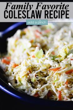 A delicious classic coleslaw recipe that's always a crowd favorite! Crunchy cabbage with a delicious dressing, this easy coleslaw is a perfect side anytime! //addapinch.com #coleslaw #slaw #cabbage #easyrecipes #addapinch Potluck Recipes, Side Dish Recipes, Grilling Recipes, Appetizer Recipes, Salad Recipes, Cooking Recipes, Healthy Recipes, Easy Recipes, Coleslaw Recipes