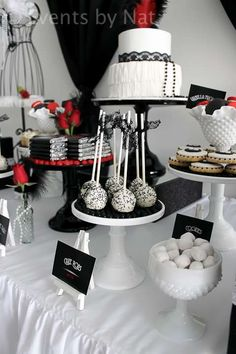 Roaring 1920's Black, White and Red Dessert Table | CatchMyParty.com www.MadamPaloozaEmporium.com www.facebook.com/MadamPalooza