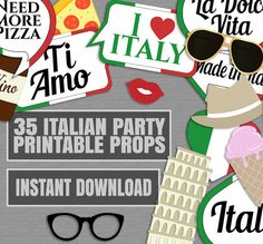 35 Italian Photo Booth Props Italy themed by YouGrewPrintables                                                                                                                                                     More