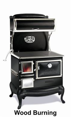 The Elmira Fireview™ cookstove with optional high-output gas burners; or, extend your prep area with the optional work surface. A large viewing window (standard on every Fireview™ stove)  •Black porcelain finish with nickel trim •Spacious 3.0 cu ft oven •Warming cabinet •1.7 cu ft firebox with large viewing area •Optional work surface adds 1' of space or gas side burners •Made in Canada