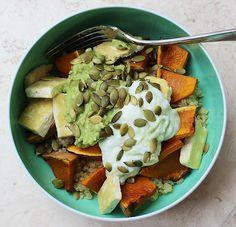Quinoa with Baked Pumpkin, Golden Tofu, Avocado and Pepita Seeds