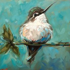 Hummingbird painting, 6x6 inch original impressionistic oil painting of a Hummingbird on a branch. Bird paintings, paintings of hummingbirds by LaveryART on Etsy