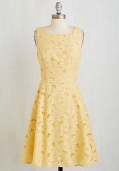 Lemon Drop It Like It's Hot Dress. You wear the best dresses, 'cause you got it goin' on - and that couldn't be more clear when you're in this lemon yellow stunner! #yellow #modcloth