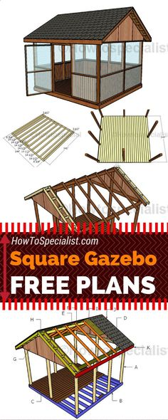 It is super easy to build a screened gazebo for your backyard! Check out my free square gazebo plans and follow the step by step instructions! #diy #gazebo