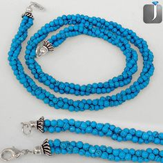 ELEGANT BLUE TURQUOISE GEMSTONE SILVER NECKLACE BEADS JEWELRY C64373 #Jewelexi #LooseBeads