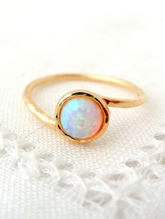 Opal ring, White opal ring, Gemstone ring, Gold ring, Silver ring, white stone ring, October birthstone ring, dainty ring, stacking ring