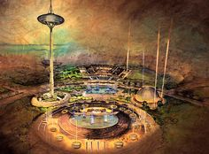 Conceptual illustration of the 1962 worlds fair in Seattle showing an early design for the Space Needle. Via http://blog.wanken.com/549/century-21-exposition-space-needle/